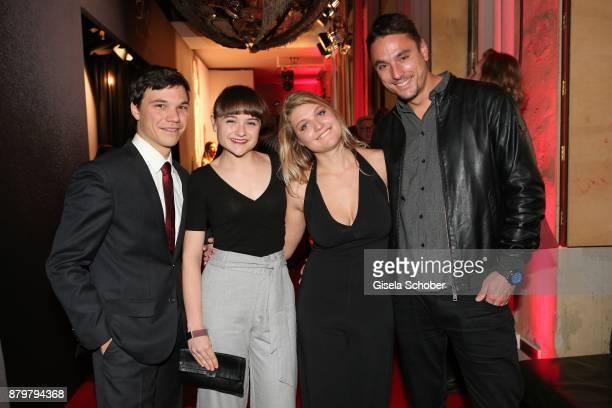 Actor Sebastian Urzendowsky and his sister Lena Urzendowsky Lara Mandoki and her boyfriend Nikola during the New Faces Award Style 2017 at The Grand...