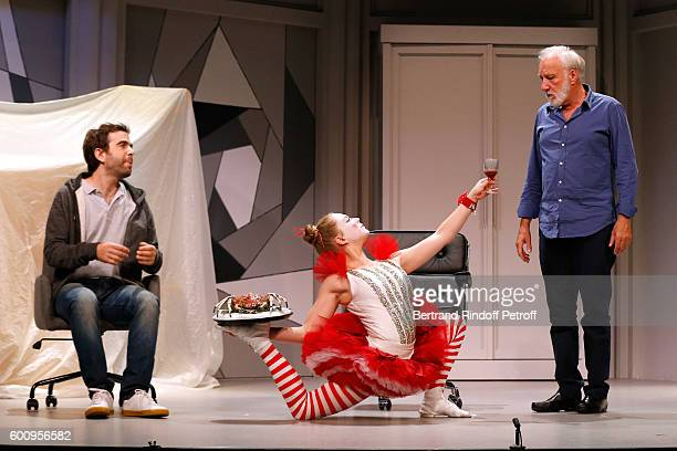 "Actor Sebastien Castro; Ines Valarcher and Francois Berleand perform during the ""Moi, moi et Francois B. "" : Theater Play Presentation at Theatre..."
