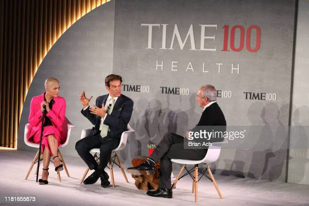 Actor Selma Blair, Dr. Mehmet Oz and Dr. David Agus speak onstage during the TIME 100 Health Summit at Pier 17 on October 17, 2019 in New York City.