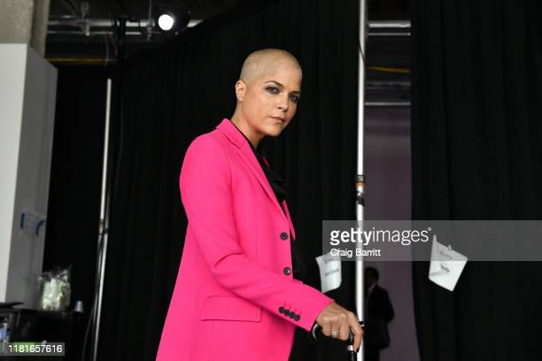 Actor Selma Blair poses backstage during the TIME 100 Health Summit at Pier 17 on October 17, 2019 in New York City.