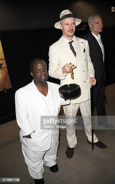 Actor Selwyn Emerson Miller director Tom Six and actor Dieter Laser arrive for the Premiere Of IFC Midnight's The Human Centepede 3 held at TCL...