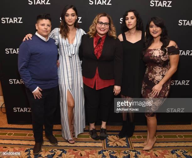 Actor Ser Anzoategui actor Melissa Barrera showrunner/executive producer Tanya Aracho Mishel Prada and Chelsea Rendon at the STARZ Winter TCA on...