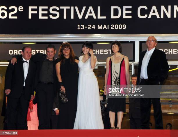 Actor Sergi Lopez director Isabelle Coixet actress Rinko Kikuchi and guests attend the Map of the Sounds of Tokyo Premiere at the Palais des...