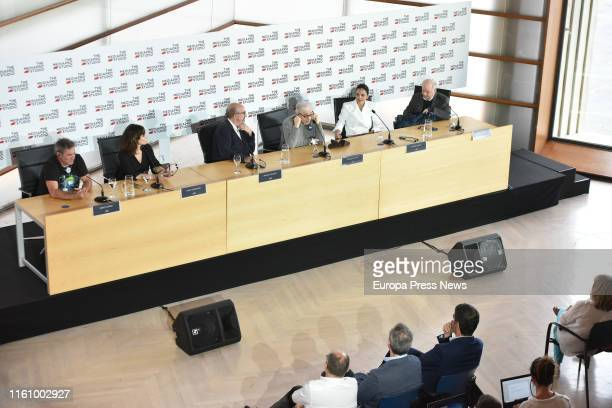 Actor Sergi López , actress Gina Gherson , businessman Jaume Roures , Woody Allen , actress Elena Anaya and actor Wally Shawn present the filming of...