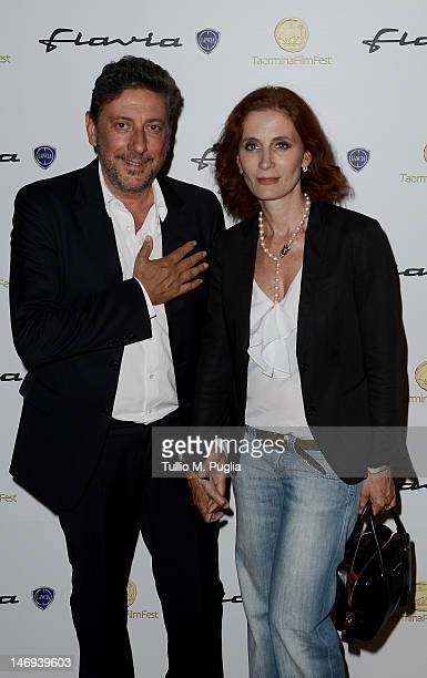 Actor Sergio Castellitto and his wife Margaret Mazzantini attend at the Lancia Cafe during the 58th Taormina Film Fest on June 23, 2012 in Taormina,...