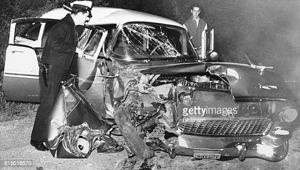 Actor Seriously Injured in Crash West Los Angeles California A policeman examines the wreckage of actor Montgomery Clift's car after it crashed into...
