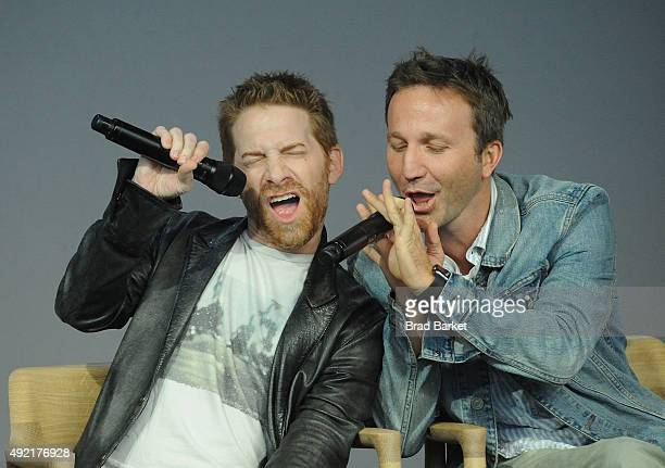 Actor Seth Green and Breckin Meyer attend Meet the Creator Seth Green and Matthew Senreich 'Robot Chicken'at Apple Store Soho on October 10 2015 in...