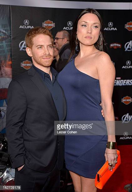 """Actor Seth Green and Clare Grant attends the Los Angeles premiere of """"Marvel's Avengers"""" at the El Capitan Theatre on April 11, 2012 in Hollywood,..."""