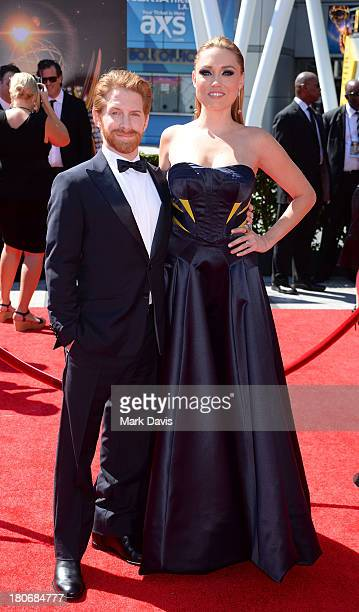 Actor Seth Green and wife Clare Grant arrive at the 2013 Creative Arts Emmy Awards held at the Nokia Theatre LA Live on September 15 2013 in Los...