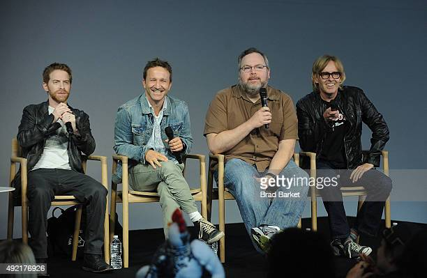 Actor Seth Green Breckin Meyer Tom Root and Tom Sheppard attend Meet the Creator Seth Green and Matthew Senreich 'Robot Chicken'at Apple Store Soho...