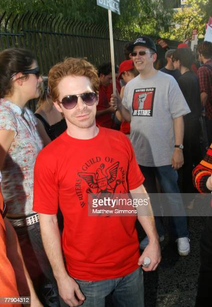 Actor Seth Green pickets in support of the Writers Guild of America which is currently onstrike for increased residuals from film and television...