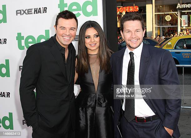Actor Seth MacFarlane actress Mila Kunis and actor Mark Wahlberg attend the premiere of Universal Pictures' 'Ted' at Grauman's Chinese Theatre on...
