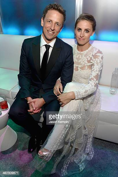 Actor Seth Meyers and Alexi Ashe attend the Universal NBC Focus Features E sponsored by Chrysler viewing and after party with Gold Meets Golden held...