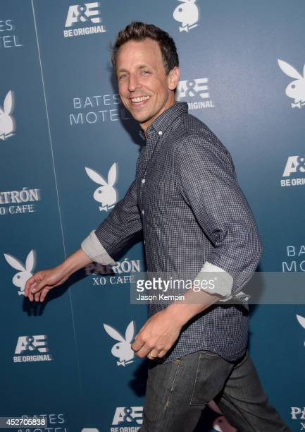 "Actor Seth Meyers arrives at the Playboy and AE ""Bates Motel"" Event During ComicCon Weekend on July 25 2014 in San Diego California"