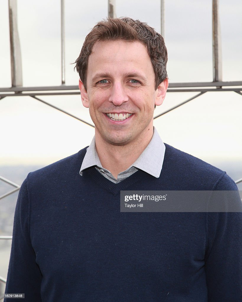 Actor Seth Meyers lights The Empire State Building to promote Cycle for Survival on March 1, 2013 in New York City.