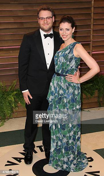 Actor Seth Rogen and actress Lauren Miller attend the 2014 Vanity Fair Oscar Party hosted by Graydon Carter on March 2 2014 in West Hollywood...