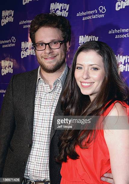 """Actor Seth Rogen and Lauren Miller arrive at """"Hilarity For Charity"""" To Benefit The Alzheimer's Association at Vibiana on January 13, 2012 in Los..."""