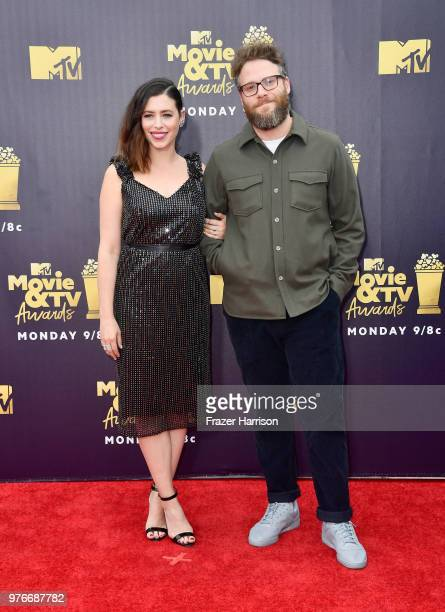Actor Seth Rogen and Lauren Miller attend the 2018 MTV Movie And TV Awards at Barker Hangar on June 16 2018 in Santa Monica California