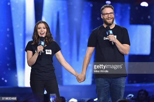 Actor Seth Rogen and Lauren Miller speak onstage at WE Day California 2016 at The Forum on April 7 2016 in Inglewood California