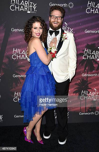 Actor Seth Rogen and wife actress Lauren Miller arrives at the 3rd Annual Los Angeles Hilarity for Charity Variety Show at Hollywood Palladium on...