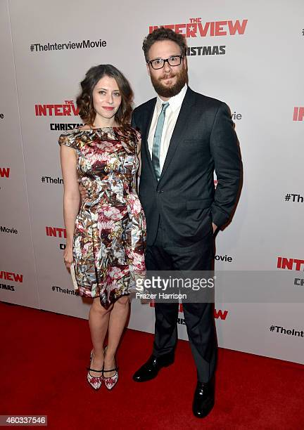 Actor Seth Rogen and wife actress Lauren Miller attend the premiere Of Columbia Pictures' The Interview at The Theatre at Ace Hotel Downtown LA on...
