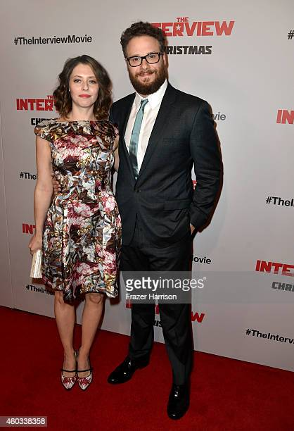 Actor Seth Rogen and wife actress Lauren Miller attend the premiere Of Columbia Pictures' 'The Interview' at The Theatre at Ace Hotel Downtown LA on...