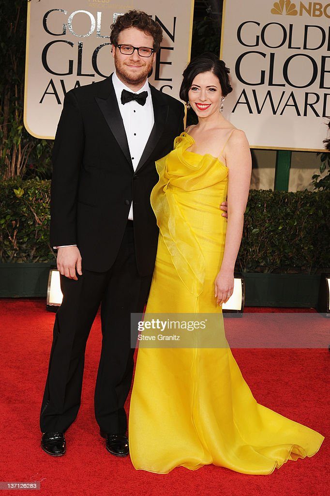 Actor Seth Rogen and wife Lauren Miller arrive at the 69th Annual Golden Globe Awards held at the Beverly Hilton Hotel on January 15, 2012 in Beverly Hills, California.