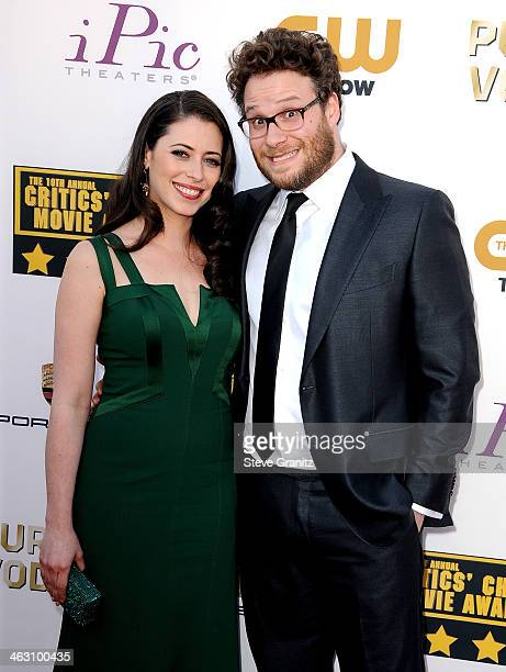 Actor Seth Rogen and wife Lauren Miller attend the 19th Annual Critics' Choice Movie Awards at Barker Hangar on January 16 2014 in Santa Monica...