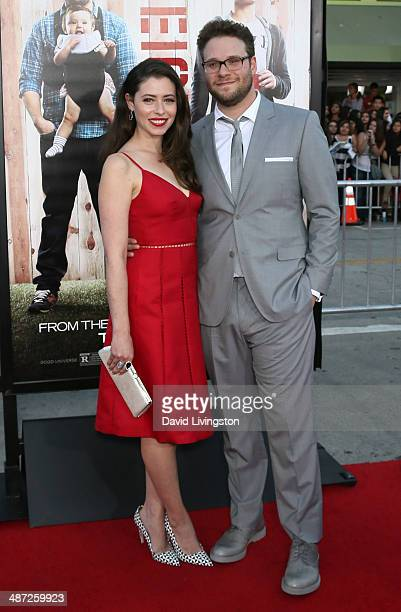 Actor Seth Rogen and wife Lauren Miller attend the premiere of Universal Pictures' 'Neighbors' at Regency Village Theatre on April 28 2014 in...