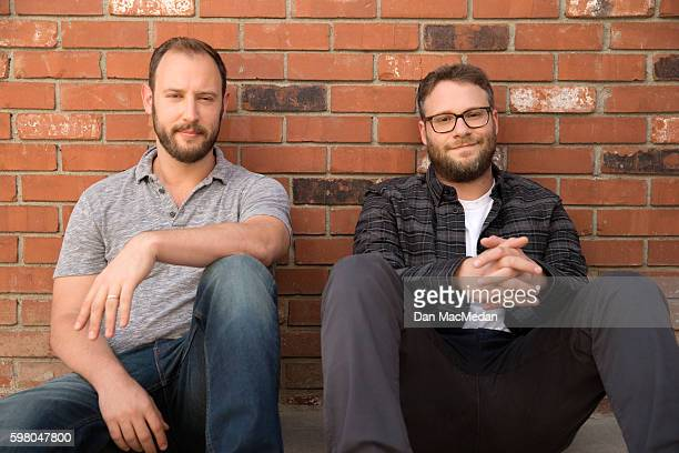 Actor Seth Rogen and writer Evan Goldberg are photographed for USA Today on August 9 2016 in Los Angeles California