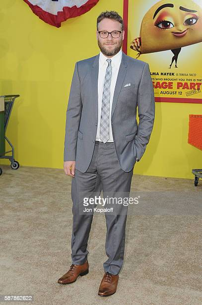 Actor Seth Rogen arrives at the Los Angeles Premiere 'Sausage Party' at Regency Village Theatre on August 9 2016 in Westwood California