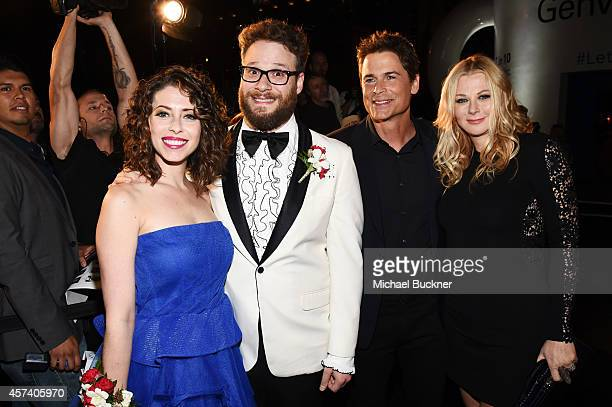 Actor Seth Rogen, his wife Lauren Miller, actor Rob Lowe and Sheryl Berkoff attend the 3rd Annual Hilarity for Charity Variety Show to benefit the...