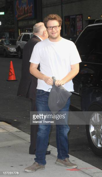 """Actor Seth Rogen is seen arriving to """"Late Show With David Letterman"""" at the Ed Sullivan Theater on September 26, 2011 in New York City."""