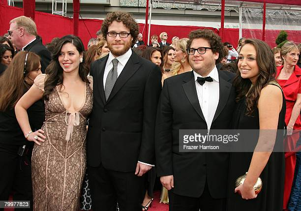 Actor Seth Rogen Lauren Miller actor Jonah Hill and guest arrive at the 80th Annual Academy Awards held at the Kodak Theatre on February 24 2008 in...