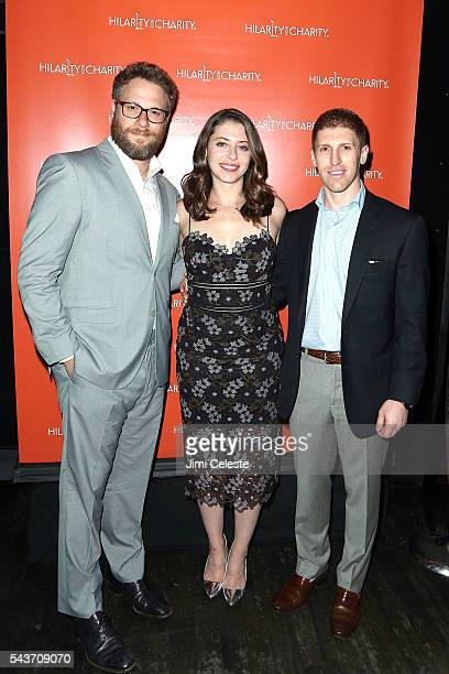 Actor Seth Rogen Lauren Rogen and Dan Miller attends Seth and Lauren Rogen's Hilarity for Charity Comes to New York at Highline Ballroom on June 29...