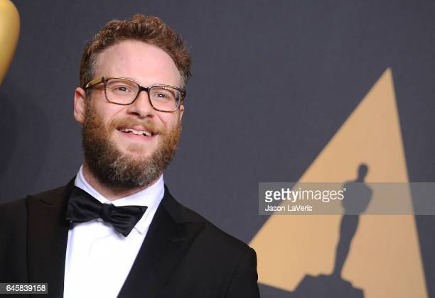 Actor Seth Rogen poses in the press room at the 89th annual Academy Awards at Hollywood Highland Center on February 26 2017 in Hollywood California