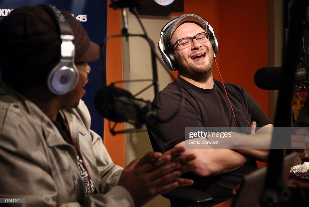 Actor Seth Rogen (R) visits 'Sway in the Morning' on Eminem's Shade 45 channel at SiriusXM Studios on June 12, 2013 in New York City.