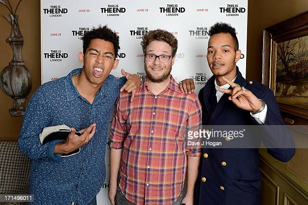 Actor Seth Rogen with Jordan Stephens and Harley AlexanderSule of the Rizzle Kicks attend the This Is The End Special Screening at the Charlotte...