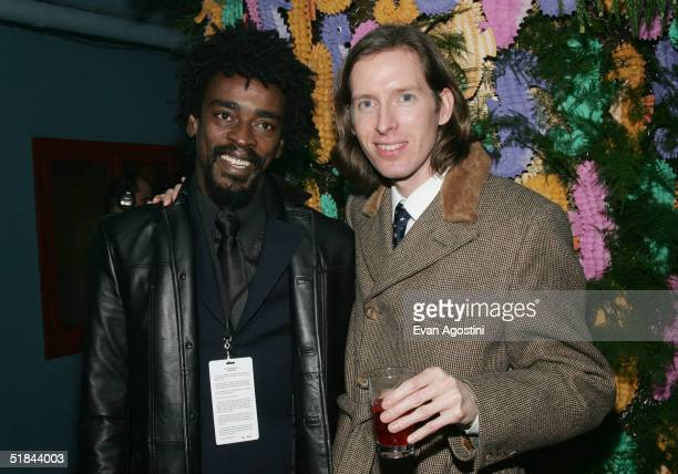 "Actor Seu Jorge and director Wes Anderson attend ""The Life Aquatic With Steve Zissou"" premiere after party at Roseland Ballroom December 9, 2004 in..."