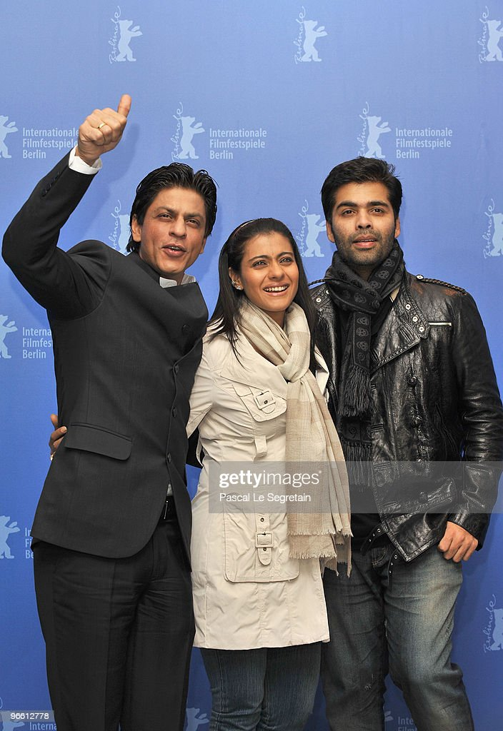 Actor Shah Rukh Khan actress Kajol and director Karan Johar attend the `My Name Is Khan` Photocall during day two of the 60th Berlin International...