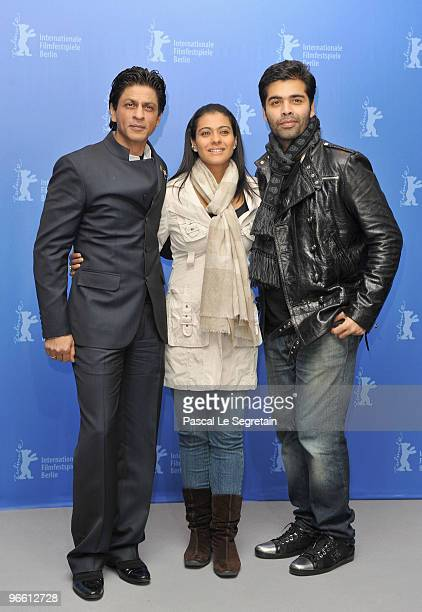 Actor Shah Rukh Khan actress Kajol and director Karan Johar attends the 'My Name Is Khan' Photocall during day two of the 60th Berlin International...