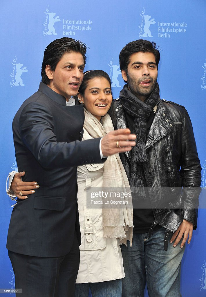 Actor Shah Rukh Khan actress Kajol and director Karan Johar attends the `My Name Is Khan` Photocall during day two of the 60th Berlin International...
