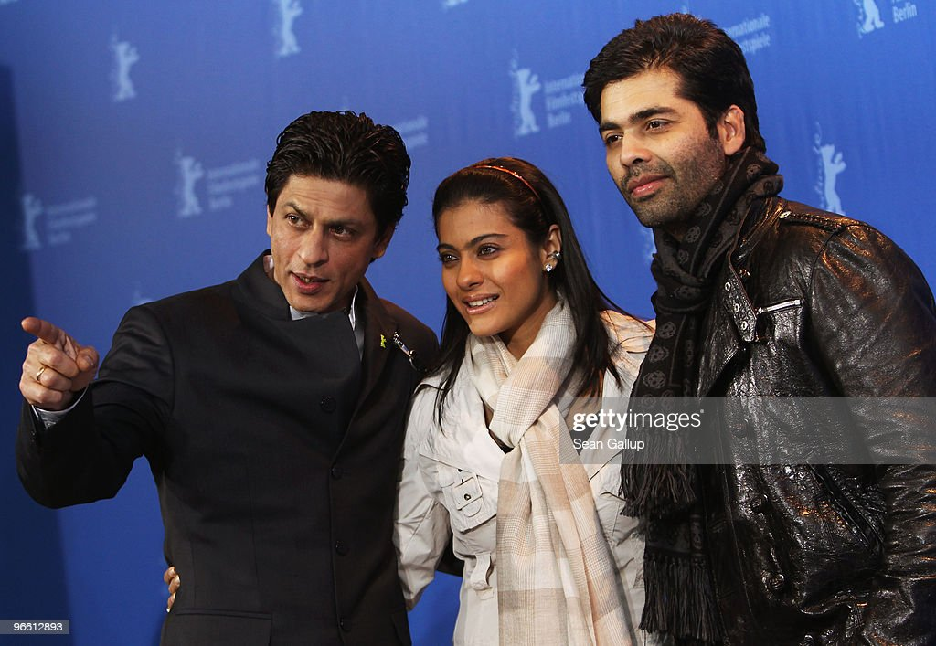 Actor Shah Rukh Khan actress Kajol Devgan and director Karan Johar attends the 'My Name Is Khan' Photocall during day two of the 60th Berlin..