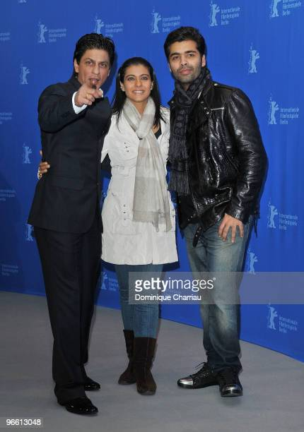 Actor Shah Rukh Khan actress Kajol Devgan and director Karan Johar attend the 'My Name Is Khan' Photocall during day two of the 60th Berlin...