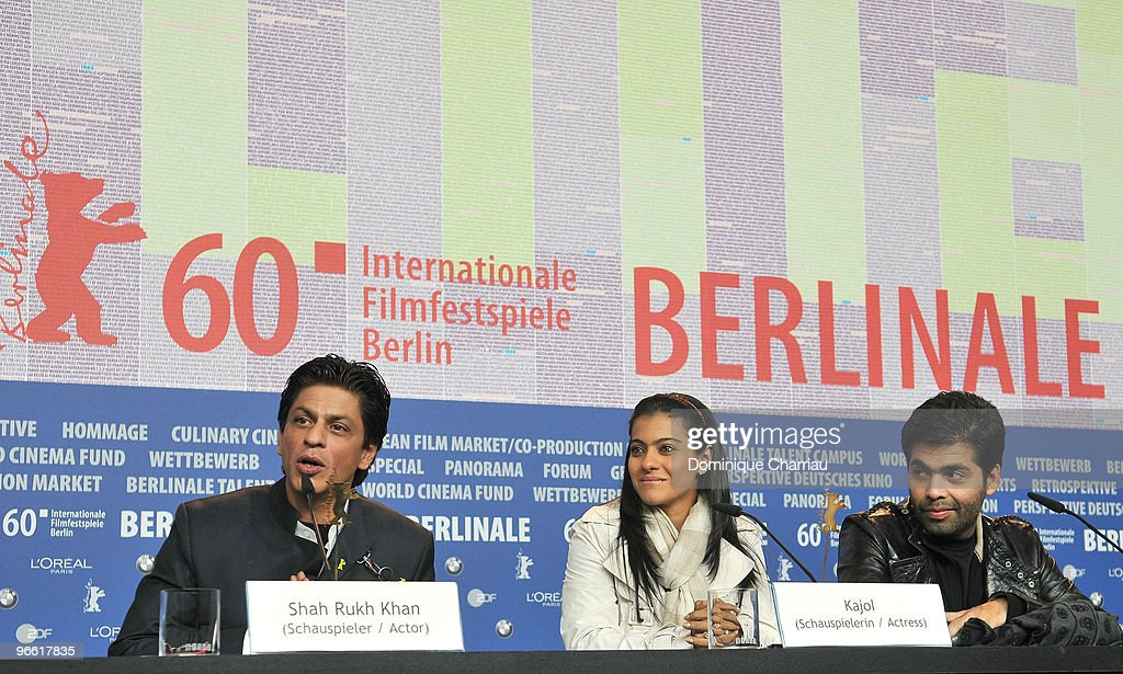 Actor Shah Rukh Khan actress Kajol Devgen and director Karan Johar attend the `My Name Is Khan` Press Conference during day two of the 60th Berlin...