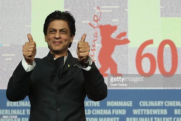 Actor Shah Rukh Khan attends the 'My Name Is Khan' Press Conference during day two of the 60th Berlin International Film Festival at the Grand Hyatt...