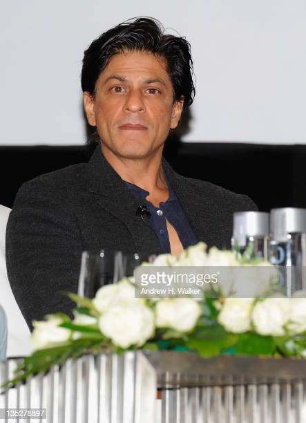 Actor Shah Rukh Khan onstage during an QA session on day two of the 8th Annual Dubai International Film Festival held at the Madinat Jumeriah Complex...