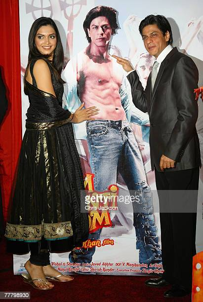Actor Shah Rukh Khan poses with Actress Deepika Padukone at the photocall for the Bollywood Film 'Om Shanti Om' at Empire Leicester Square on...