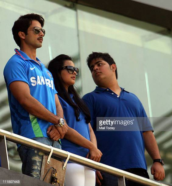 Actor Shahid Kapoor during the ICC Cricket World Cup final between India and Sri Lanka at Wankhede Stadium in Mumbai on April 2 2011