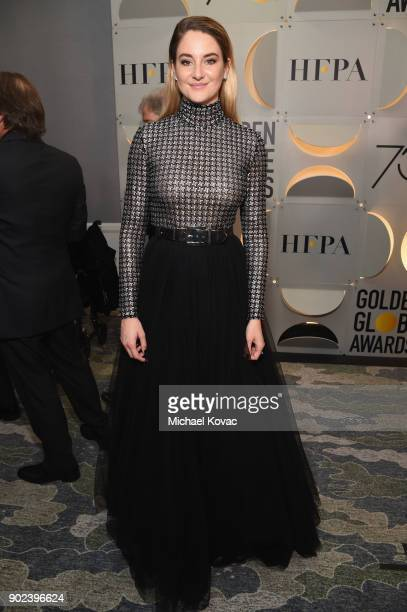Actor Shailene Woodley celebrates The 75th Annual Golden Globe Awards with Moet Chandon at The Beverly Hilton Hotel on January 7 2018 in Beverly...